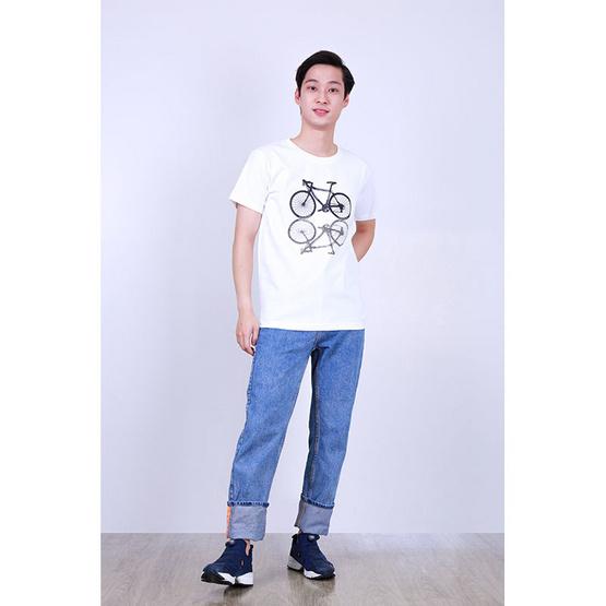 เสื้อยืดคอกลมสกรีนจักรยาน สีขาว