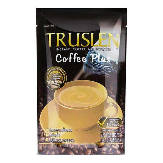 กาแฟ ทรูสเลนคอฟฟีพลัส 3in1 80 กรัม แพ็ก 5 ซอง (3 ถุง)