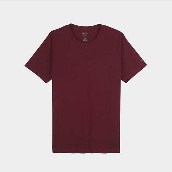 KOO'S เสื้อยืดคอกลมแขนสั้นแดงการ์เน็ท
