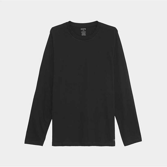 KOO'S เสื้อยืดคอกลมแขนยาวดำ