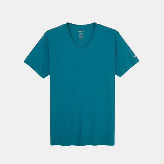 KOO'S เสื้อยืดคอวีแขนสั้นเขียวทะเล