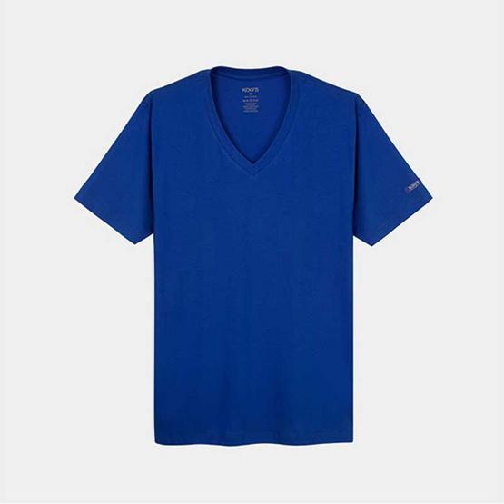 KOO'S เสื้อยืดคอวีแขนสั้นน้ำเงิน