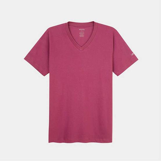 KOO'S เสื้อยืดคอวีแขนสั้นชมพูคาบาเร่ต์