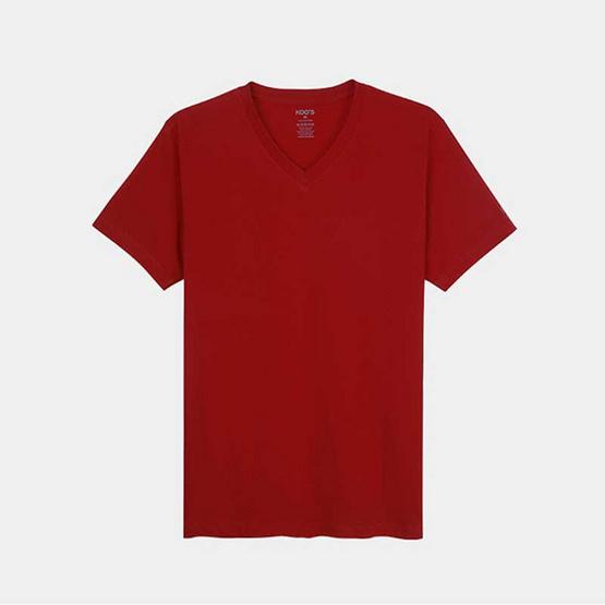 KOO'S เสื้อยืดคอวีแขนสั้นแดง