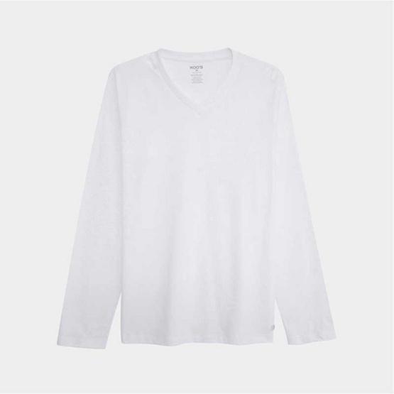 KOO'S เสื้อยืดคอวีแขนยาวขาว
