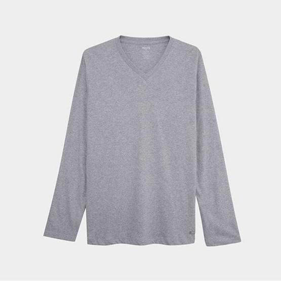 KOO'S เสื้อยืดคอวีแขนยาวท๊อปดายอ่อน