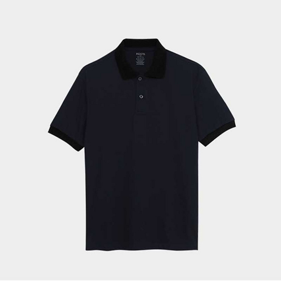 KOO'S เสื้อโปโลรุ่นPayฟ้าเข้มปกดำ