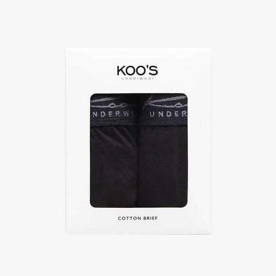 KOO'S กางเกงในรุ่นคลาสสิกบรีฟยางดำดำ2Pack