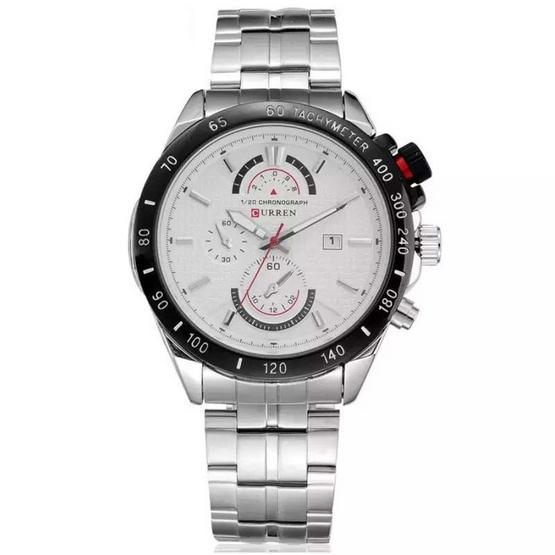Curren นาฬิกา สีเงิน/ขาว สายสแตนเลส รุ่น C8148