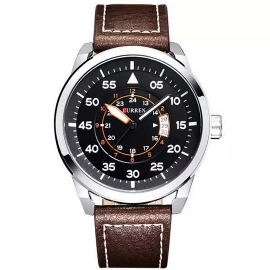Curren นาฬิกา สายหนังสีน้ำตาล/ขอบเงิน รุ่น C8210