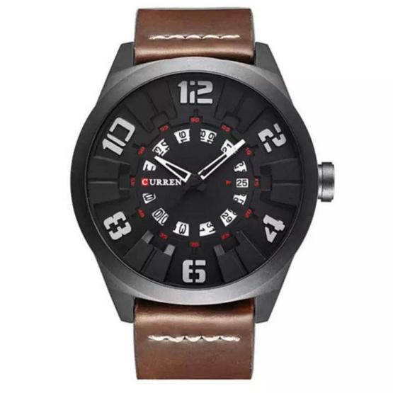 Curren นาฬิกา สายหนังสีCoffee รุ่น C8258