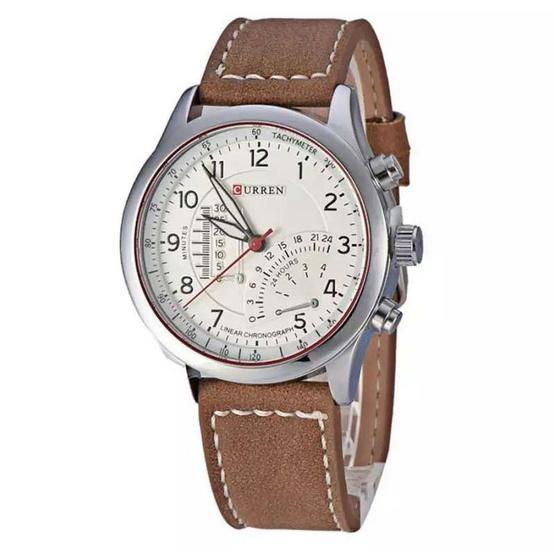 Curren นาฬิกา สีน้ำตาล/ขาว สายหนัง รุ่น C8152