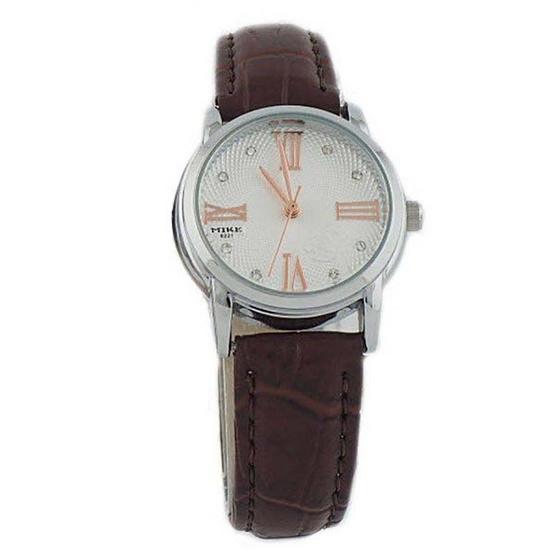 MIKE นาฬิกาคู่รักสีน้ำตาล/เงิน รุ่น M-8221
