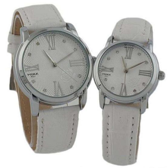 MIKE นาฬิกาคู่รัก สายหนัง สีขาว/เงิน รุ่น M-8221