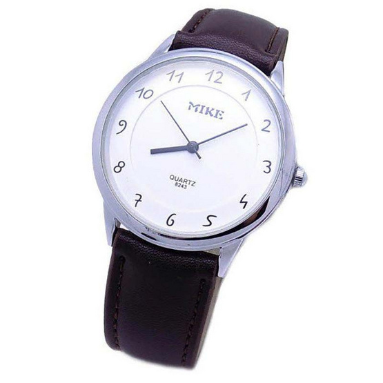 MIKE นาฬิกาคู่รัก สายหนัง สีขาว/เงิน รุ่น M-8243