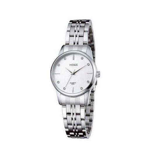MIKE นาฬิกาคู่รัก  หน้าปัดสีขาว รุ่น M-8204
