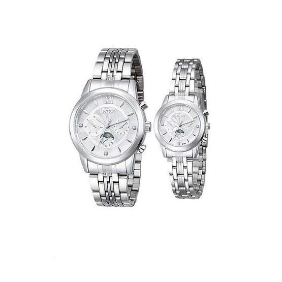 MIKE นาฬิกาคู่รัก  สีขาว/เงิน รุ่น M-8134
