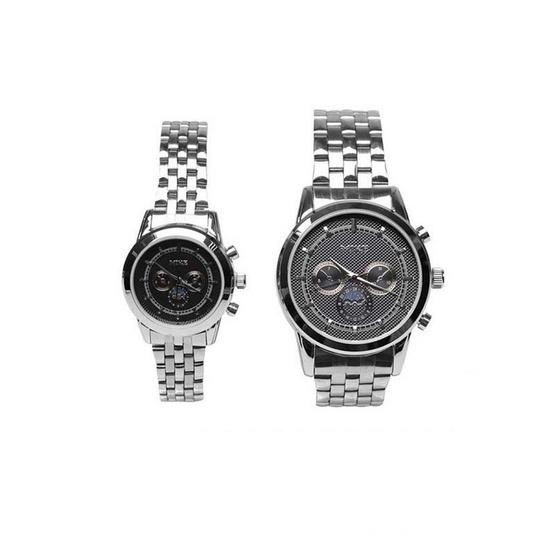 MIKE นาฬิกาคู่รัก หน้าปัดสีดำ รุ่น M-8811