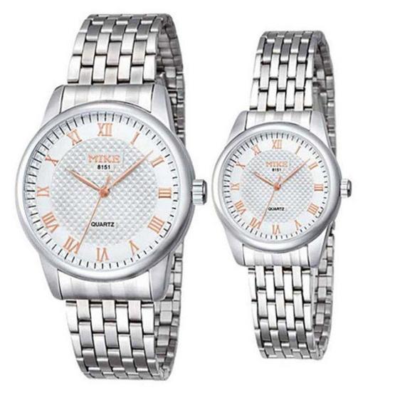 MIKE นาฬิกาคู่รัก สีขาว/ทอง รุ่น M-8151