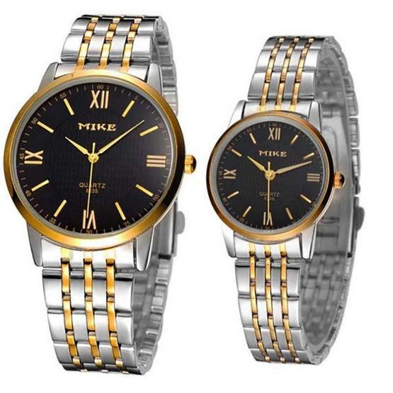 MIKE นาฬิกาคู่รัก หน้าปัดสีดำ รุ่น M-8235