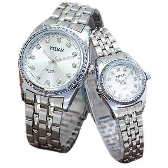 MIKE นาฬิกาคู่รักสีเงิน หน้าปัดสีเงิน รุ่น M-8082