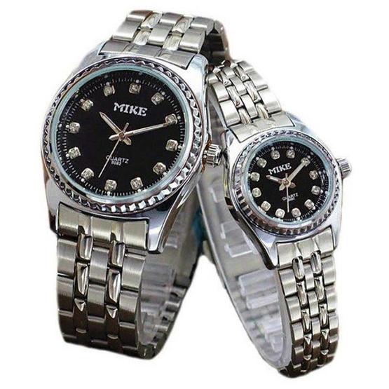 MIKE นาฬิกาคู่รักสีเงิน หน้าปัดสีดำ รุ่น M-8082