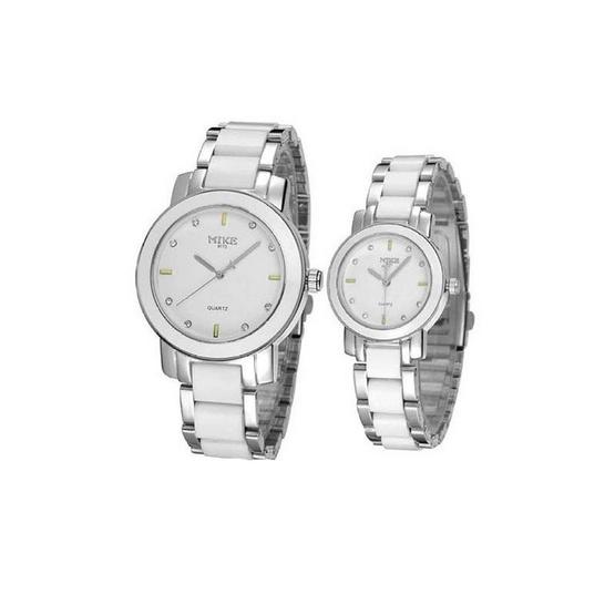 MIKE นาฬิกาคู่รัก Alloy สีขาว/เงิน รุ่น M-8173