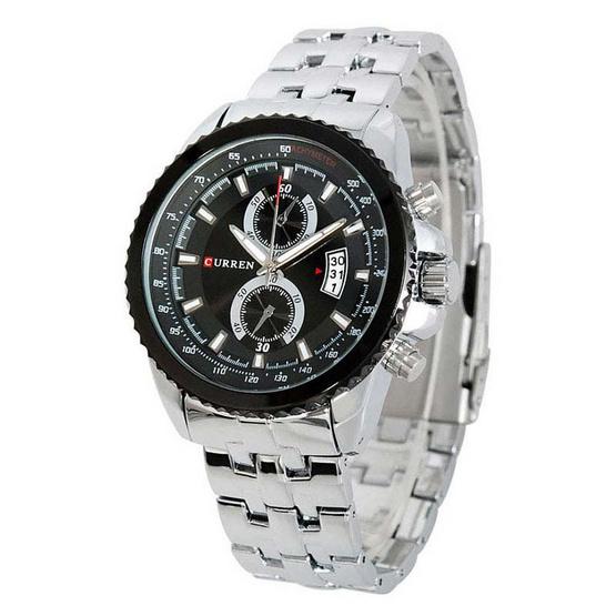 CURREN นาฬิกา 8082 สแตนเลส เงินปัดดำ