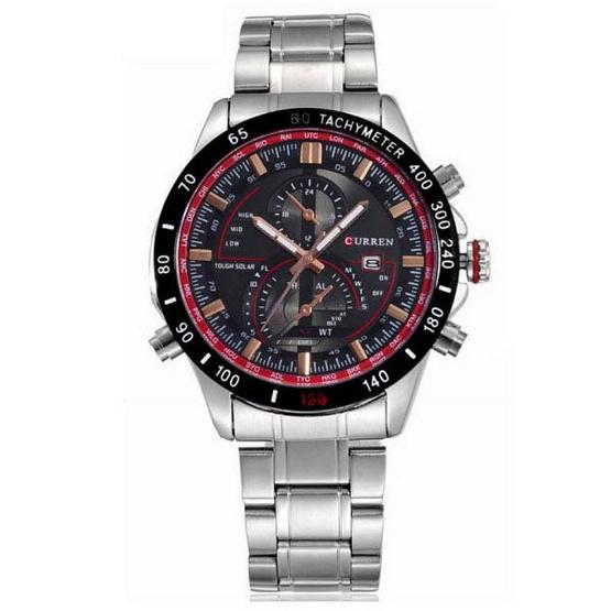 CURREN นาฬิกา 8149 สแตนเลส เงิน/ดำขอบทอง