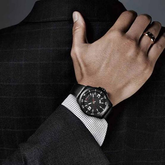 CURREN นาฬิกา 8213 สายหนังดำ ดำ