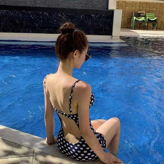 Wolfox Swimwear One Piece Polka Dot Blue