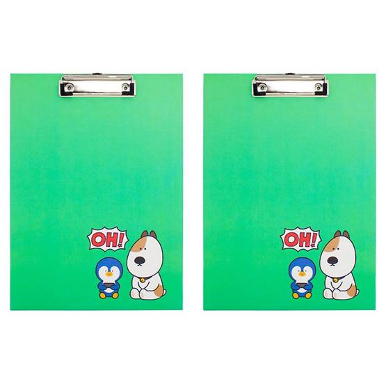 คลิปบอร์ดA4 DINGO FRIENDS DG405 สีเขียว