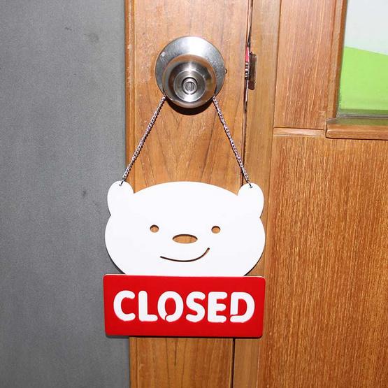 Robin ป้ายข้อความอะคริลิค 2ด้าน รูปหมี OPEN/CLOSE