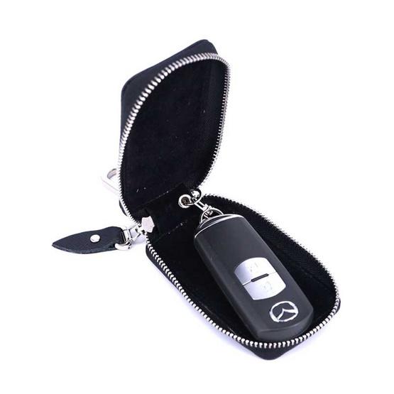 กระเป๋ากุญแจรีโมทหนังแท้ลายมุ้งNINZA สีดำ#01