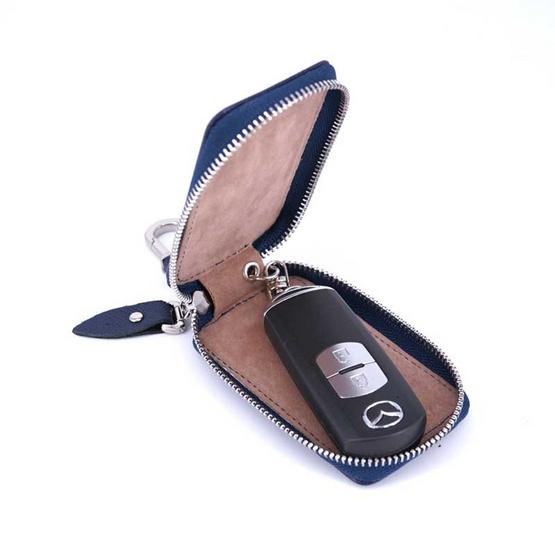 กระเป๋ากุญแจรีโมทหนังแท้ลายมุ้งNINZA สีกรม#02