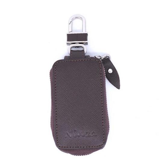 กระเป๋ากุญแจรีโมทหนังแท้ลายมุ้งNINZA สีน้ำตาล#03