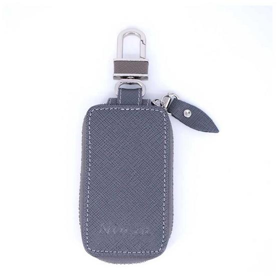 กระเป๋ากุญแจรีโมทหนังแท้ลายมุ้งNINZA สีเทา#04
