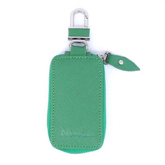 กระเป๋ากุญแจรีโมทหนังแท้ลายมุ้งNINZA สีเขียว#05