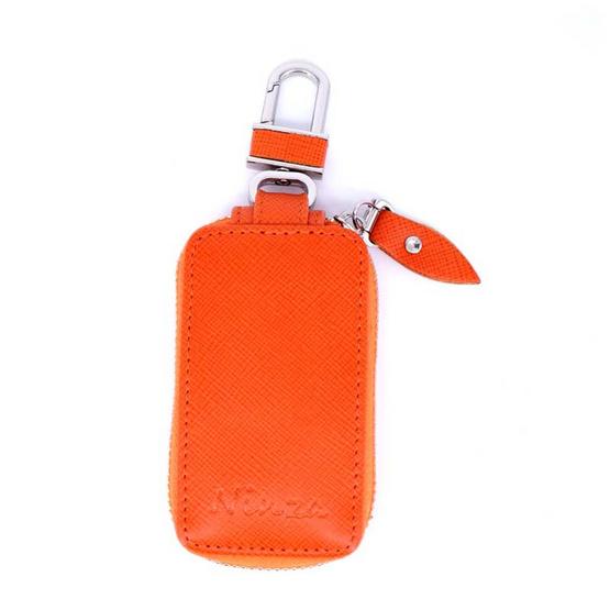 กระเป๋ากุญแจรีโมทหนังแท้ลายมุ้งNINZA สีส้ม#07