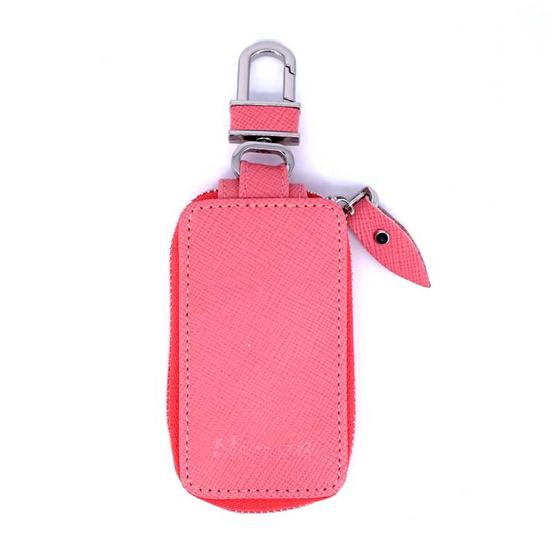 กระเป๋ากุญแจรีโมทหนังแท้ลายมุ้งNINZA สีชมพู#08