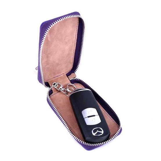 กระเป๋ากุญแจรีโมทหนังแท้ลายมุ้งNINZA สีม่วง#09