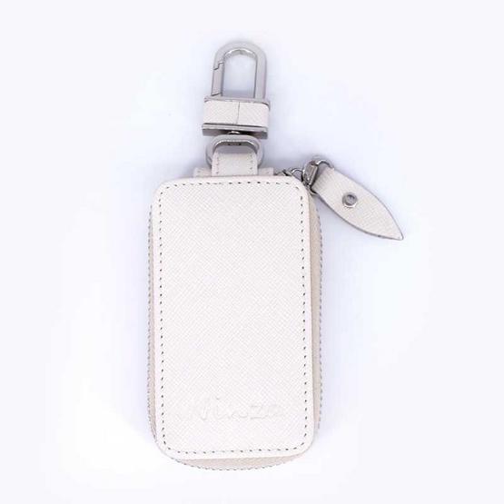 กระเป๋ากุญแจรีโมทหนังแท้ลายมุ้งNINZA สีขาว#10