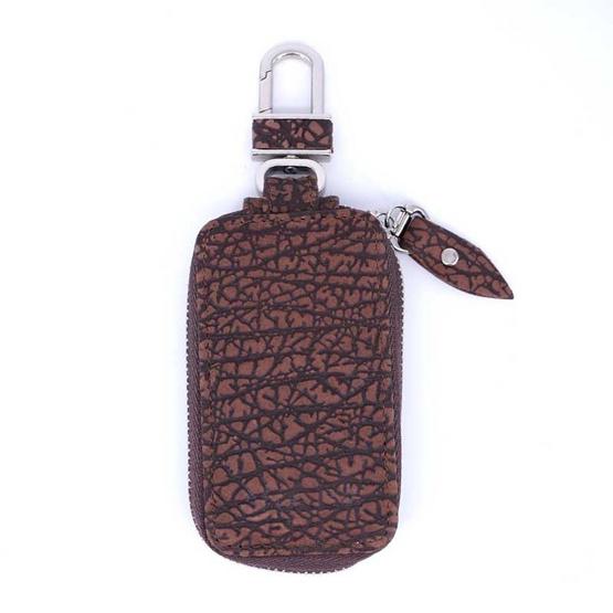 กระเป๋ากุญแจรีโมทหนังแท้วัวอัดลายNINZA สีน้ำตาล#12