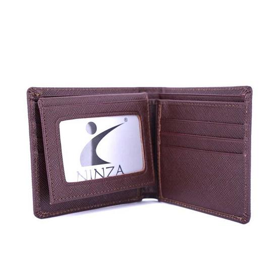 กระเป๋าธนบัตรพับสั้นหนังแท้ลายมุ้ง NINZAสีตาล #03
