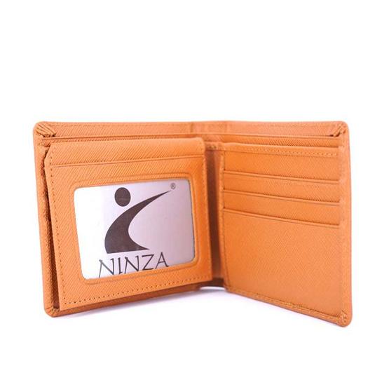 กระเป๋าธนบัตรพับสั้นหนังแท้ลายมุ้ง NINZAสีแทน #04