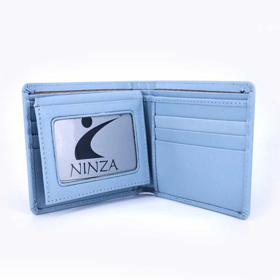กระเป๋าธนบัตรพับสั้นหนังแท้ลายมุ้ง NINZAสีฟ้า #06