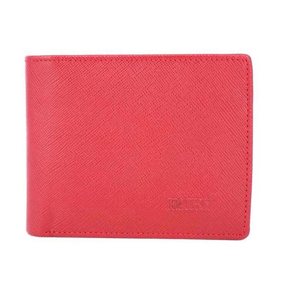 กระเป๋าธนบัตรพับสั้นหนังแท้ลายมุ้ง FAIRYสีแดง #07
