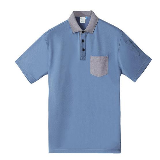 BLUE BEARเสื้อโปโลแขนสั้นผู้ชายรุ่นPOINTI(COMFOR-TECH)สีฟ้า