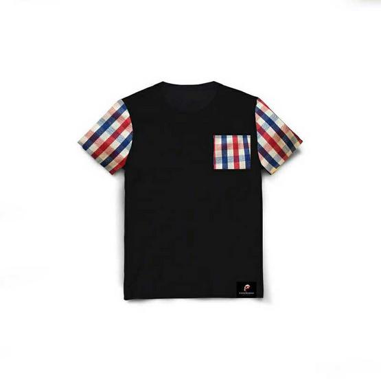 PAHKAHMAH เสื้อยืดผ้าขาวม้าสีดำ แขนตารางเล็ก น้ำเงิน แดง รุ่น PTB-A4