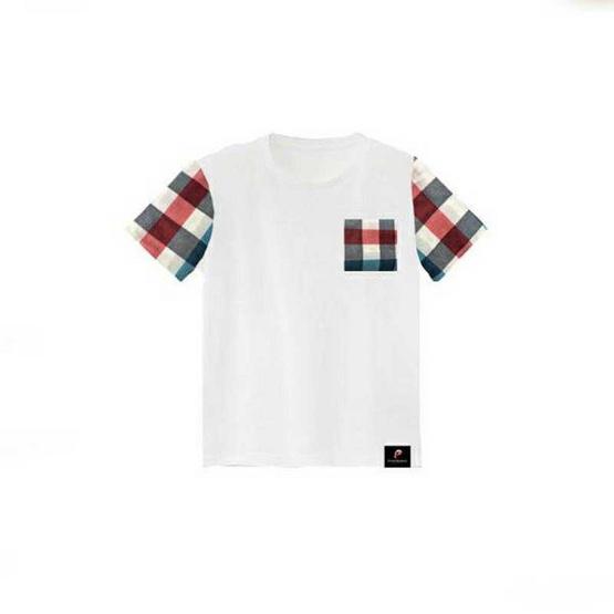 PAHKAHMAH เสื้อยืดผ้าขาวม้าสีขาว แขนตาราง น้ำเงิน แดง รุ่น PTW-A1